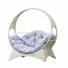 Comfortable  outdoor sleeping bed PE wicker rattan chaise lounge for garden