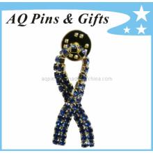 Metal Awareness Ribbon Pin Badge with Diamond Lapel Pin (badge-026)