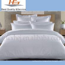 100% Cotton White Stripe Duvet Cover Set For Hospital