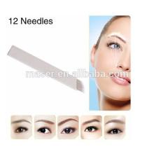 100 pièces en forme de U Microblading Eyebrow Tattoo Permanent Manual Blade 21 Needles