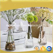 Venta caliente Vaso de cristal claro / Decoración del hogar Flor Vaso de vidrio con flor