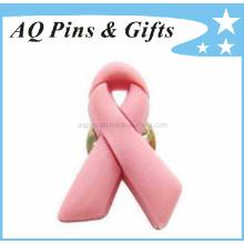 High Quality Soft PVC Pink Ribbon Awareness Pin (Pin-01)