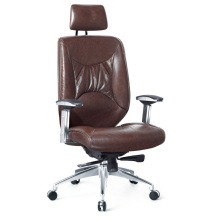 Brown Color Cow Leather High Back Office Swivel Seating for Manager
