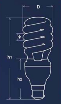 Middle Full Spiral compact fluorescent bulbs