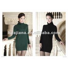 Vestidos longos de camisola de inverno feminino / 100% jazida de caxemira