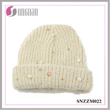 2016 Best Quality Knitted Sweet Pearl Diamante Wool Yarn Cap