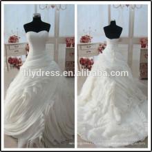 Раффлед милая реальные фотографии Длина пола сшитое длинные формальные Свадебные BW278 бальное платье свадебное платье модели