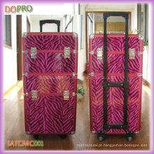 Cor-de-rosa Zebra Padrões Hair Stylist Beleza casos PU Maquiagem Trolley Case (SATCMC001)