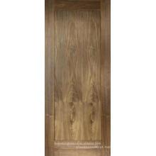 Projeto de painel único de portas de balanço interior de madeira de nogueira com acabamento em fábrica