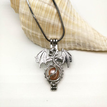 Pterosaurlar Locket Necklace Dragon Bead İnci Kafes Zinciri