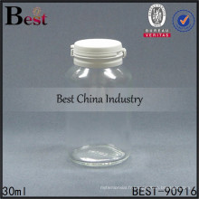 bouteille en verre médicale transparente de 30ml, bouteille de pilule de capsule de sauce en verre claire de 1oz arrachent le chapeau, 1-2 échantillons gratuits