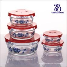5PCS Ensemble de bol en verre de couvercle de couleur différente avec des décalcomanies (GB1402-TH)