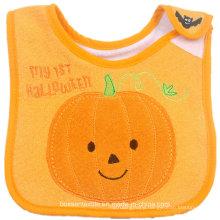 Custom Made Soft Cotton Halloween Cartoon Pumpkin Embroidered Baby Bib