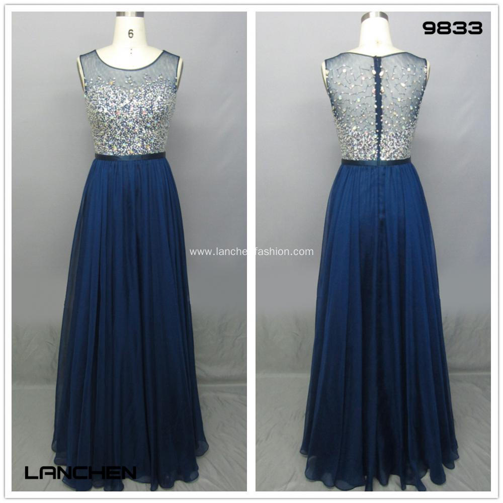 Navy Blue Illusion Beaded A Line Prom Dresses