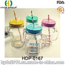 BPA livre personalizado copo plástico de parede dupla com palha (HDP-0167)