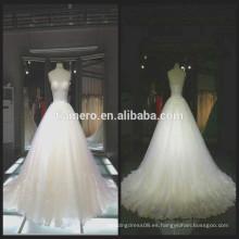 1A064 fuera de hombro encaje bordado personalizado Appliqued piso vestido de novia de longitud
