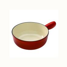 Red Cast Iron Fondue Pot