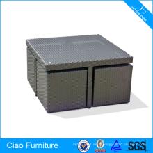 Sauver la table et la chaise de salle à manger en osier de rotin synthétique de meubles extérieurs de Sapce