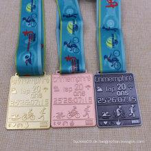Angepasste Metall Schwimmen Lauf Radfahren Sport Award Triathlon Medaille