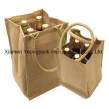 Fashion Reusable Jute Burlap 4 Bottle Wine Bottle Carrier Bag