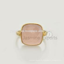 Anillos de plata de la piedra preciosa al por mayor, anillo rosado de la calcedonia, joyería de la plata esterlina 925