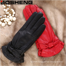 Women Winter Leather Cycling Fleece Lined PU Gloves with Fur