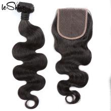 Cuerpo de visón Cierre de encaje suizo Pre-desplumados Base de seda Partido brasileño Fácil uso Paquetes de cabello humano de larga duración