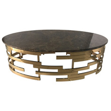 Oval Stainless Steel Brass Coffee Table