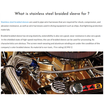 Expandable Metal braided Wire Sleeve For Engine Dress-up
