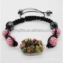 Tecidos Unakite pedras preciosas árvore de sorte e 10MM Rose esferas de cristal tecido pulseira