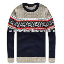12STC0749 cable knit reindeer mens crew neck sweater