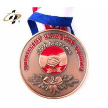 médaille de titulaire de support de cintre en métal de récompense en cours d'exécution d'or de sport avec le ruban