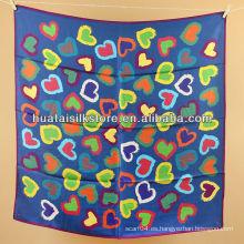 Wrap hangzhou impresión de seda real de color azul corazón bufanda mujeres abrigo