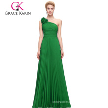 Wholesale Grace Karin Women's One Shoulder Long Green Chiffon Prom Dress CL3467-3