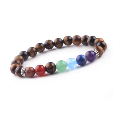 Charm 8MM Natural Crystal 7Chakra Tiger Eye Beaded Bracelet for Men