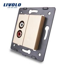 Livolo Gold Plastic Materials ЕС стандартная функциональная клавиша для аудио электрической розетки C7-1AD-13