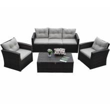 Morden Living Modern Patio Rattan Furniture 5 PCS Sectional Wicker Sofa Sets
