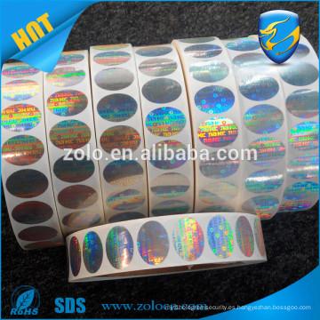 Impresión de seguridad antirrobo personalizado sello de seguridad de holograma, seguro sello de seguridad de holograma