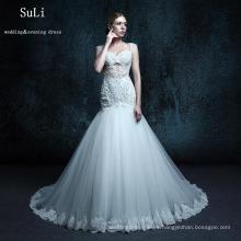 ZXB22 Vestido de boda de la trompeta de la vendimia El cordón del botón de los espaguetis de Tulle rebordeó la longitud del piso Vestido nupcial de los vestidos largos