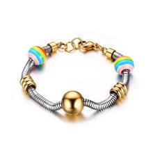 Edelstahl Schlangenkette 12mm Regenbogen Perlen Charm Gold Bead Armband