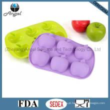 6-Cavidade Apple Silicone Bakeware Bolo Molde Soap Mold Sc20