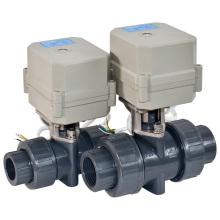 Válvula de esfera do PVC do controle motor de fluxo elétrico de 2 maneiras com CE para a água quente (A100-T20-P2-C)