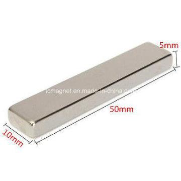 Magnético forte N50 Ímã longo da barra do bloco 50 X 10 X 5 milímetros Neodymium da terra rara
