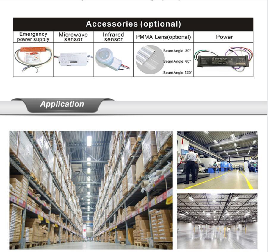 Aluminum LED Flat Linear High Bay Light Fixture 006 - 2