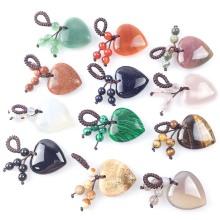 Натуральный кристалл сердце камень любви брелок 7 чакра Reki исцеляющий кристалл драгоценный камень бусины кисточкой брелок для женщин