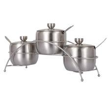 3PCS Set Tarro de especias de acero inoxidable con cuchara de acero inoxidable