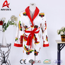 Factory supply high quality cheap oem coral fleece printed bathrobe kids with hooded