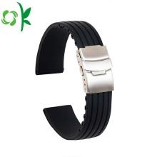 Reemplazo de correa de reloj de silicona simple impermeable raya