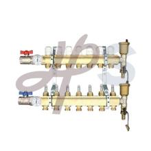 Collecteur de chauffage en laiton avec débitmètre court et robinet à boisseau sphérique