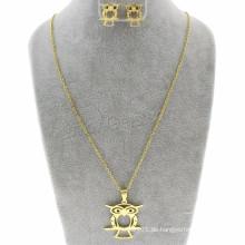 Discount Schmuck Ohrring & Halskette Eule Oval Chain Dubai Gold Schmuck Set